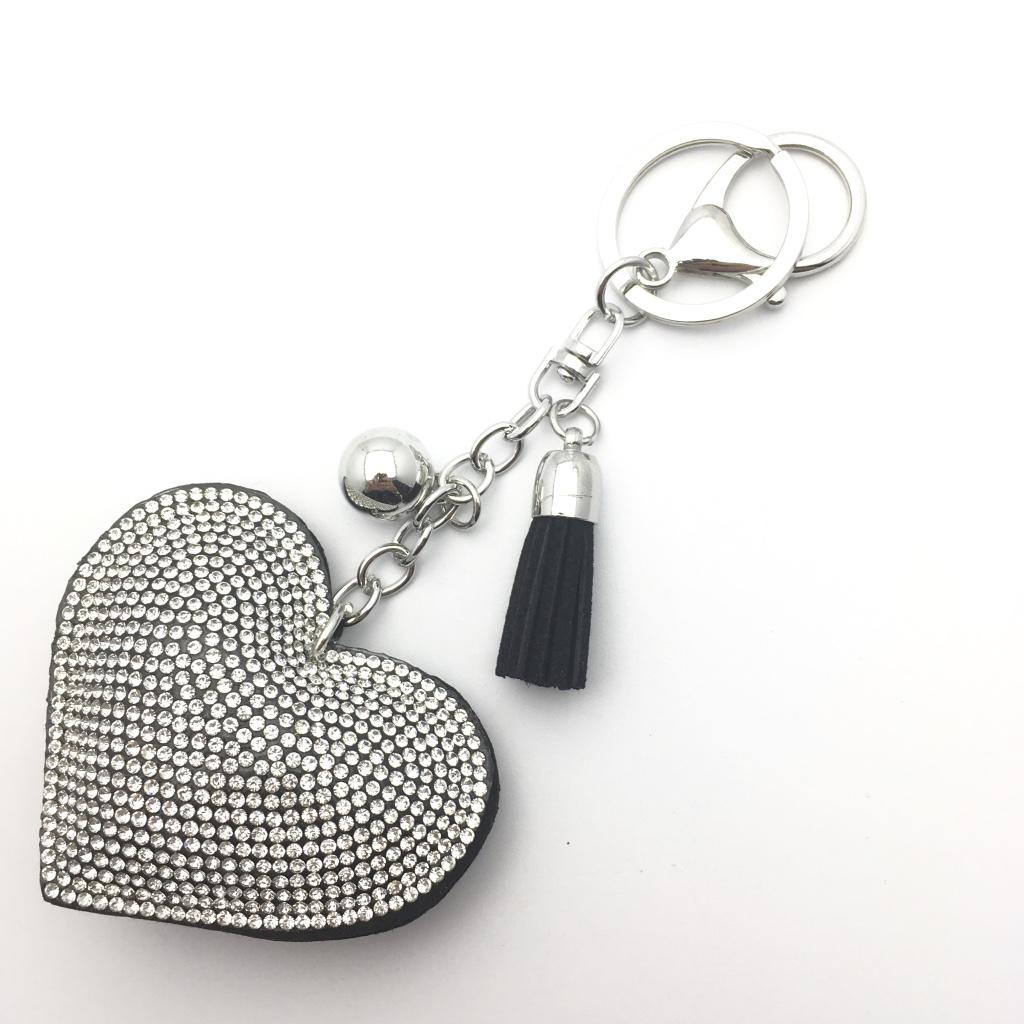 93bc52d26 Čierny prívesok na kľúče, kabelku s kamienkami | PrincessCar.sk