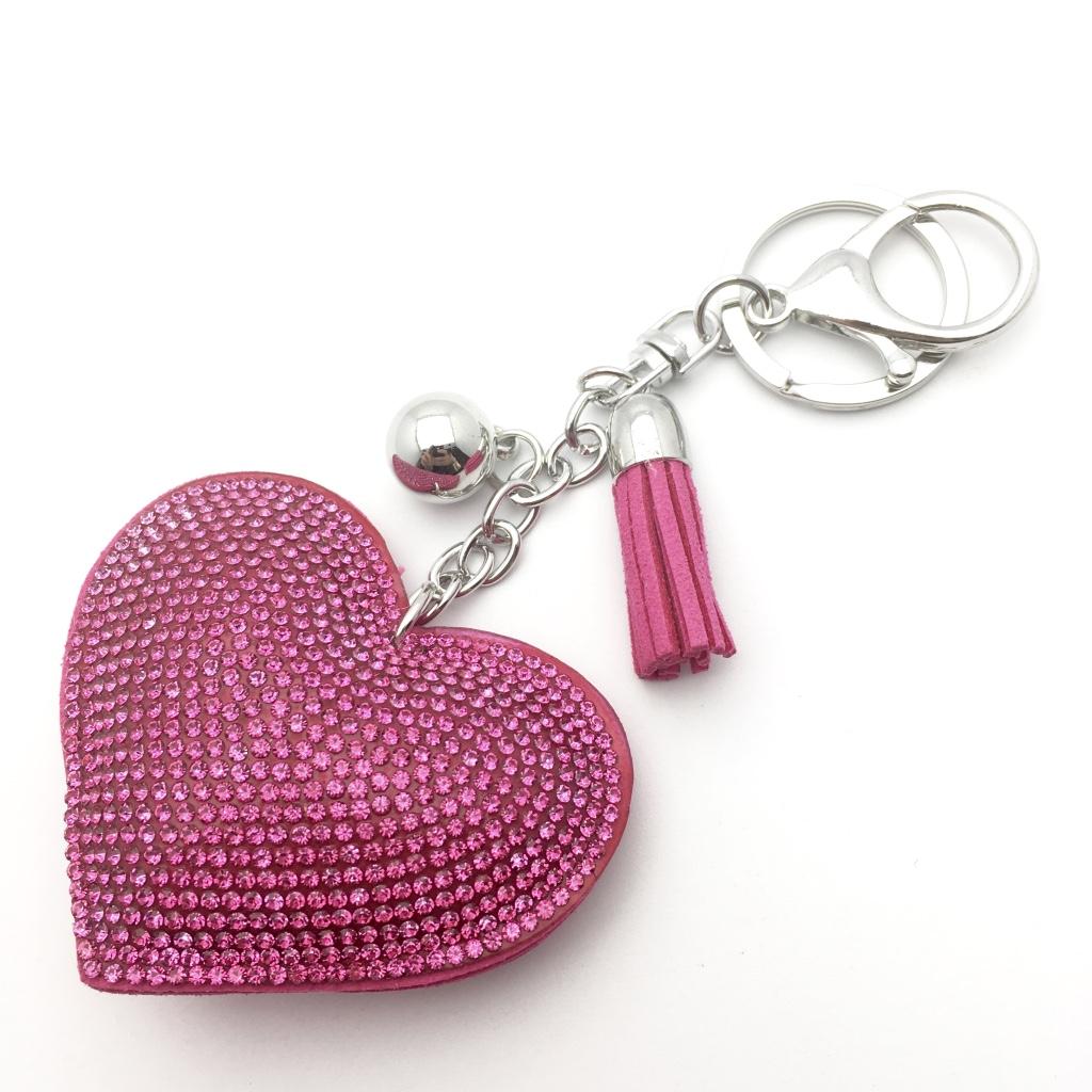 3d9c447da Tmavo ružový prívesok na kľúče, kabelku s kamienkami | PrincessCar.sk