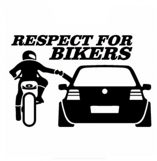 Autosamolepka Respect For Bikers - Čierna